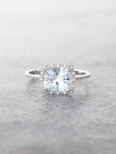 14K Aquamarine & Diamond Halo Ring