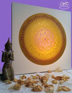 Sonnenkreis Mandala, Acryl auf Leinwand, 50 x 50 cm Globe, Decorative Plates, Artwork, Home Decor, Mandalas, Glee, Canvas, Speech Balloon, Work Of Art
