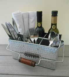 http://rubies.work/0957-sapphire-pendant/ Shabby Chic Hammered Tin Utensil Caddy and Kitchen Organizer