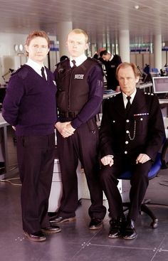 Martin Freeman, Simon Pegg, & Bill Nighy on the set of Hot Fuzz
