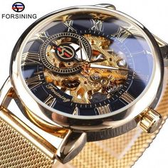 Cool Watches: Discount Up to Forsining Transparent Case 2017 Fashion Logo Engraving Golden Stainless Steel Men Mechanical Watch Top Brand Luxury Skeleton Sport Watches, Cool Watches, Rolex Watches, Wrist Watches, Citizen Watches, Audemars Piguet, Smartwatch, Datejust Rolex, Skeleton Watches