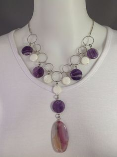 Chunky gemstone choker bib style with faceted amethyst, white mother of pearl and light purple agate focal - Michela Rae