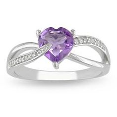 @Overstock - Amethyst and diamond ringSterling silver jewelryClick here for ring sizing guidehttp://www.overstock.com/Jewelry-Watches/Miadora-Sterling-Silver-Amethyst-and-Diamond-Accent-Heart-Ring/5625695/product.html?CID=214117 $53.99