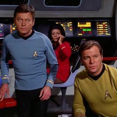 Bones, Uhura, and Kirk