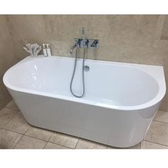 The Oxford 1640 Contemporary Back To Wall Freestanding Bath is an elegant bath featuring a rimless freestanding design, the ultimate in design and luxury. Best Bathroom Flooring, Modern Bathroom Sink, Master Bedroom Bathroom, Loft Bathroom, Bathroom Bath, Family Bathroom, Bathroom Styling, Bathroom Ideas, Bathroom Inspo