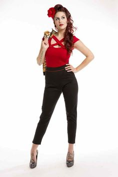 High Waisted Retro Capri Black Va Voom ! at Pinup Empire Clothing today ! www.pinupempireclothing.com NOW AVAILABLE - SEPARATES $95 also available in leopard