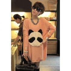 $6.62 Stylish Loose Fitting Scoop Neck Panda Print Long Sleeve Long Sweater for Women
