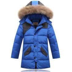 Warm Boy's Winter down Jackets real fur Fashion baby Coat thick duck Kids jacket Children Outerwear cold winter