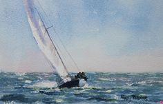 Breezy Day in the Basin by Poppy Balser Watercolor ~ 7 x 10