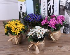Silk Daisy Flowers Arrangements+Vase Decorative Artificial Flower Basket For Wedding Decorations Party Home Table Decorations