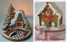 candlelit gingerbread house by perniky.artmama.cz left, christmas gingerbread house by Magical Cakes NZ right
