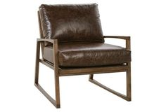 Markus Leather Accent Chair, Sienna Bark