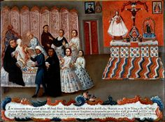 The Peres-Maldanado ex-voto shows a woman undergoing breast cancer surgery. Surrounded by her surgeon, religious leaders, female family members, and attendants, Doña Josefa calmly and serenely lies in bed as the surgeon performs a mastectomy using only a scalpel and scissors, 1777, oil on canvas, 27-1/4 x 38-1/2.  Courtesy Davis Museum and Cultural Center, Wellesley College, Wellesley, Massachusetts.