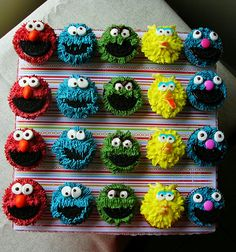 Sesame Street Cupcakes. Getting ideas for Mark's next bake sale.