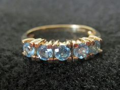 Vintage 9K Yellow Gold Five Aquamarine  Ring Size 6 1/2 M 1/2 by NaughtNew on Etsy