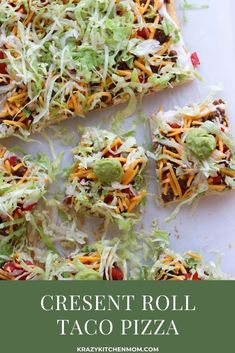 Two tubes of crescent roll dough, ground beef, taco seasoning, cream cheese, and some veggies are all you need to make Crescent Roll Taco Pizza. Pizza Recipes, Appetizer Recipes, Beef Recipes, Dinner Recipes, Healthy Recipes, Appetizers, Easy Recipes, Potluck Recipes, Snacks Recipes