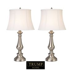 Stately style is showcased in this set of 2 Dimond Trump Home Fairlawn table lamps. Shimmering brushed steel bodies and the white fabric shades are an excellent pair. Light Table, Lamp Light, Light Led, Trump Home, Traditional Table Lamps, Bright Homes, Table Lamp Sets, Fabric Shades, Cool Lighting