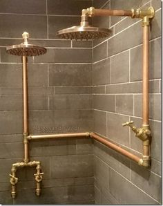 Double copper rain shower