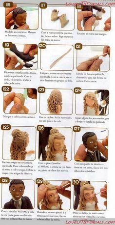 как слепить волосы/парик для куклы -How to Make a Doll Wig / Doll Hair - Page 8 - Мастер-классы по украшению тортов Cake Decorating Tutorials (How To's) Tortas Paso a Paso Fondant Tutorial, Doll Tutorial, Cake Decorating Techniques, Cake Decorating Tutorials, Fondant Figures, Fondant Toppers, Fondant Cakes, Fondant Hair, Fondant People