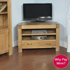 Santana Blonde Oak Corner TV Cabinet with 1 Drawer and 2 Shelves