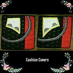 """TITLE : Black Beauty. MEDIUM :Glitter and motif work on cloth. SIZE : 16"""" ×16"""". THEME : Uneven, Curvy, Stylish and Raw. #MeghnaCreations #creations #cushioncovers #blackbeautys #embroiderydesign #lacy #bead #sequence #red #glitterart #motif #cloths #concoction #uneven #curves #rawness #floralart #dressy #stylishhome #ideal #gifts #mumbai #pintrest"""