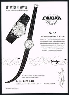 Vintage 1956 Enicar Ultrasonic Automatic Watch Mid Century Art Print Ad. #enicar #ultrasonic #oil #watch #watches #vintage #ads #stawc