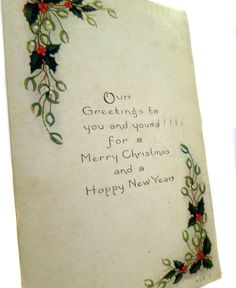 Elegant 1918 Edwardian Christmas and Happy New Year Card Divided Back Made in Elmira New York Posted Two Cent George Washington Stamp (Red) by StructureandSpice on Etsy