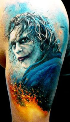 Here's a Joker tattoo by Adam Kremer #InkedMagazine #joker #villain #tattoo #tattoos #inked #ink #batman