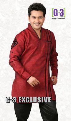 G3 fashions Maroon Linen Short Pathani Kurta  Product Code : G3-MSP1038 Price : INR RS 2338