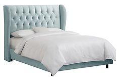 Reed Velvet Wingback Bed, Light Aqua on OneKingsLane.com