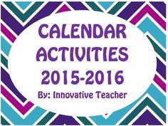 Calendar Activities 2015-2016 by Innovative Teacher