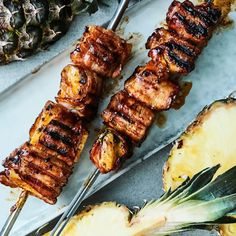 Ananas-pekonivartaat | Vartaat | Yhteishyvä Tandoori Chicken, Salad Recipes, Bacon, Salads, Bbq, Pork, Meals, Ethnic Recipes, Kitchen