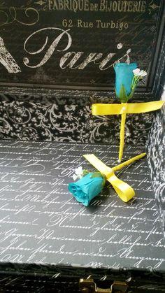 17 Piece Malibu Blue Yellow Silk Rose Wedding Bouquet Flower Set with Matching Boutonnieres & Corsages