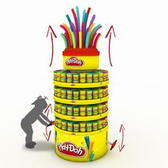 Columna Play-Doh on Behance Point Of Purchase, Point Of Sale, Pos Display, Display Design, Store Fixtures, Toys Shop, Event Design, Ramadan, Toys