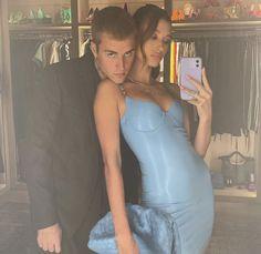 Justin Bieber, Hayley Bieber, Celebrity Red Carpet, Celebrity Style, Tight Blue Dress, Justin Hailey, Black Polka Dot Dress, Instagram Snap, White Bralette