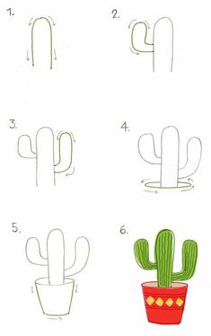 how to draw a cactus - cactus drawing easy Succulents Drawing, Cactus Drawing, Easy Drawing Steps, Step By Step Drawing, Easy Drawings For Kids, Drawing For Kids, Doodle Drawings, Cute Drawings, Beautiful Drawings