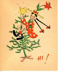 Vintage Norcross Christmas Greeting Card Lanky Lil Gal Put Star on Tree 3413