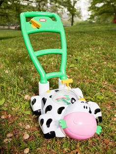 Mower with Character            	Funny sounds and tumbling grass keep a kid interested in pushing the Moonica Lawn Mooower from Little Tikes.