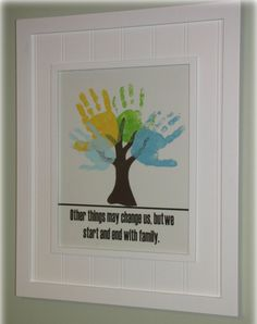 "Hand Print Tree - Spin this idea and have hands be flowers, the caption say "" Beautify the Garden of Life with Wonderful Friends"""