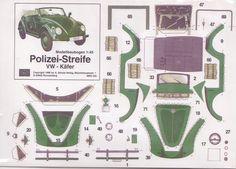 VW Beetle Käfer paper model Papiermodelle recortables cut out decoupage Basteln