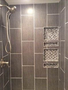First-Class Bathroom Shower Remodel Grey Tiles Adorable Bathroom Shower Remodel Grey Tiles Ideas Half Bathroom Remodel, Master Bath Remodel, Shower Remodel, Bathroom Renovations, Shower Niche, Master Shower, Bathroom Tub Shower, Bath Tubs, Master Bathroom