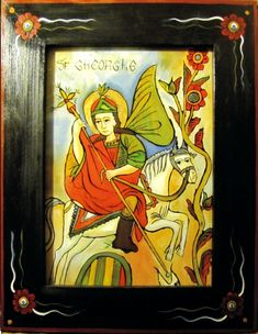 Sfantul mare mucenic Gheorghe Saint George And The Dragon, Religious Images, Orthodox Icons, Illuminated Manuscript, Saints, Glass, Painting, Greece, Decor