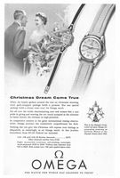 Omega Calendar Diamond Watch 1955 Ad Picture
