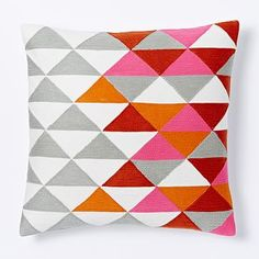 Optical Triangle Crewel Pillow Cover - Cayenne