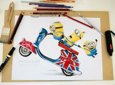 Minions - colored pencils and art markers (format A3) - 2