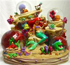 Disney Under The Sea Snowglobe 4 Globes Music 20 Characters Detailoes RARE New | eBay