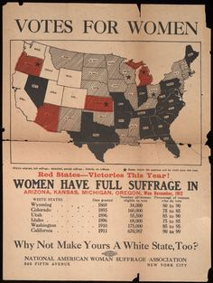 Votes for women from Votes for women · National American Woman Suffrage Associa. - Votes for women from Votes for women · National American Woman Suffrage Association · 1912 · Alb - Us History, Women In History, American History, Anti Suffrage, Women Right To Vote, Library Of America, Suffrage Movement, Red State, United States Map