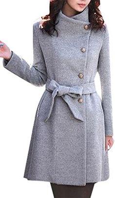 Rosa Women's Stylish Classic Stand Collar Wool Blend Jacket Long Coat WCT46, Gray Medium