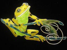 Enamel on Sterling Frog Brooch with Leaf