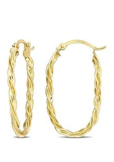 Belk & Co. Twist Hoop Earrings in Yellow Gold Bohemian Jewelry, Jewelry Collection, Hoop Earrings, Yellow, Bracelets, Gold, Gifts, Women, Washer
